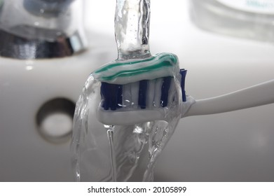 toothbrush and water