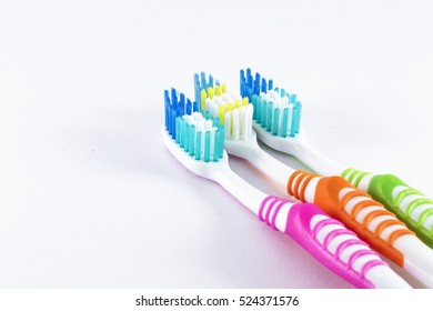 Toothbrushes white background