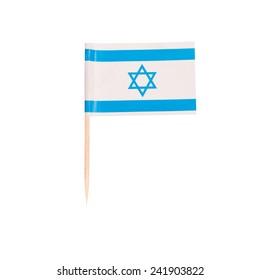 Toothpick Flag Israel. Paper Israeli flag . Isolated on white background