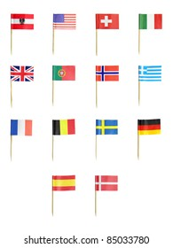 Toothpick flags of various countries isolated over white background