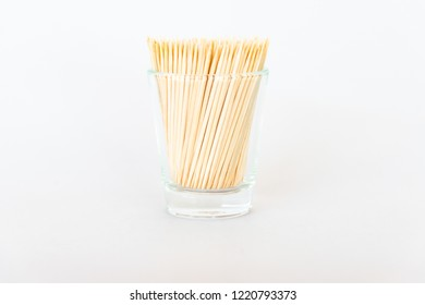 toothpick isolated / toothpick from bamboo in a glass on white background