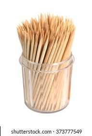 Toothpicks in a box on a white background