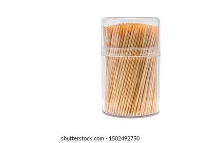 Toothpicks isolated on white background. Made with natural bamboo for home, restaurant or hotel products.
