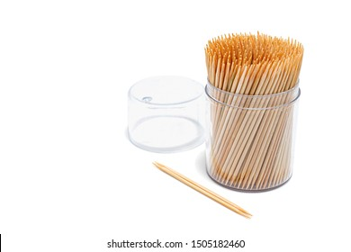 Toothpicks isolated on white background. Made with natural bamboo. Selective focus.