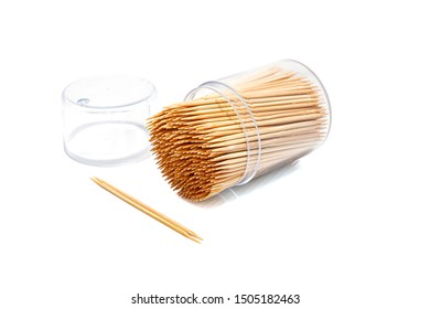 Toothpicks isolated on white background. Selective focus.