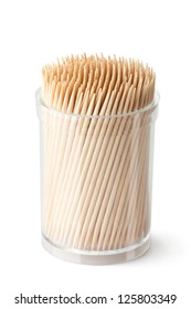 Toothpicks in transparent plastic box. Isolated on a white.