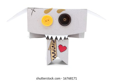 Toothy cardboard figurine with expressive face