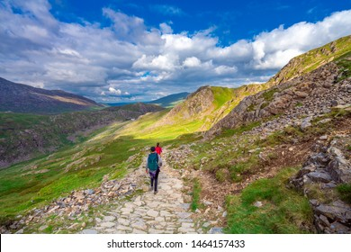 Toourist hiking in Snowdonia. North Wales. UK