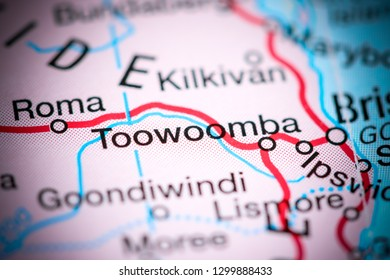 Toowoomba. Australia on a map