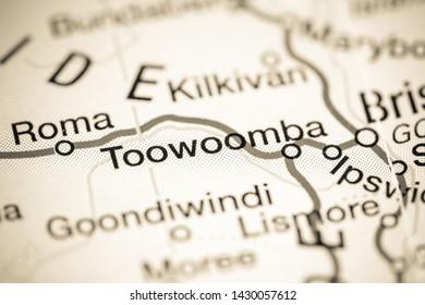 Toowoomba. Australia on a map