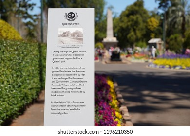 Toowoomba, Queensland/ Australia - October 2 2018: Toowoomba Queens Park and Botanic Gardens sign and information