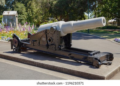 Toowoomba, Queensland/ Australia - October 2 2018: Naval Cannon at Toowoomba Queens Park and Botanic Gardens
