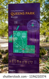 Toowoomba, Queensland/ Australia - October 2 2018: Queens Park sign and map Toowoomba Queens Park and Botanic Gardens