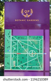 Toowoomba, Queensland/ Australia - October 2 2018: Toowoomba Queens Park and Botanic Gardens Sign and Map