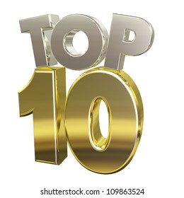 Top 10: 3D letters in silver and gold with reflections that say Top 10.  Isolated on white.