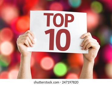 Top 10 card with colorful background with defocused lights