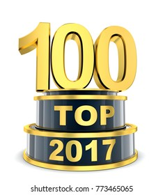Top 100 of the year 2017. 3d illustration