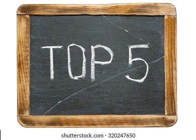 top 5 sign handwritten on vintage school slate board isolated on white
