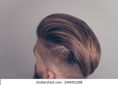 Top above back close up cropped view photo of clean clear modern ideal stylish trendy with mask lotion cream wax gel hairdress of brutal hipster isolated on gray background