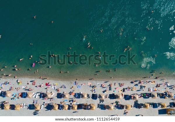 Top Aerial View Beach Rows Umbrellas Stock Photo Edit Now