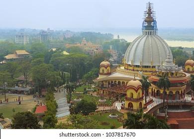 Top aerial view of the Hindu temple. Indian landscape. India, Navadwip, Mayapur.