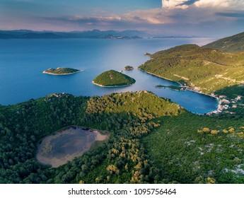 Top aerial view at Prozurska luka,Mljet.Croatia