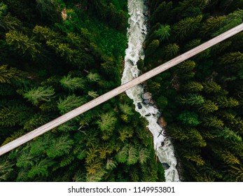 Top aerial view of rope walkway through the treetops in coniferous forest. Bird's eye view of hanging bridge crossing raging river, suspension bridge above green forest in the gorge of mountains