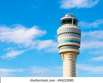 Top of air traffic control tower at Hartsfield-Jackson international airport, Atlanta, Georgia, USA