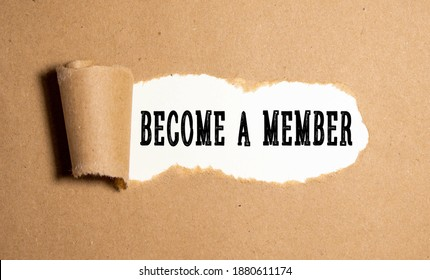 Top angle view of pen and notebook written with text BECOME A MEMBER. Business and education concept.
