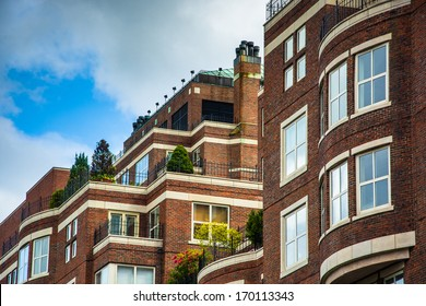 The top of an apartment building in Boston, Massachusetts.