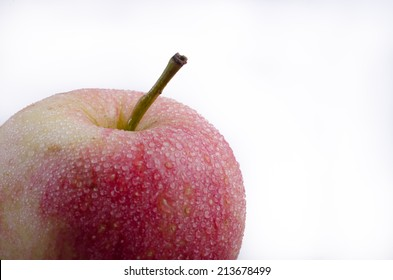 Top of an apple 2/3 frame on a white background.
