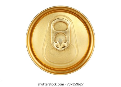 top of beer can with golden color isolated on white