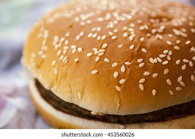 Top of the big Hamburger with sesame - macro food picture