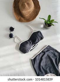 Top of black two peach with sunglasses , wide-shoulder hat and plant in pot ,accessories of beach in flat lay concept.