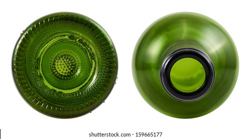 Top and bottom sides of green glass bottle isolated over white background