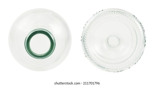 Top and bottom sides of transparent glass bottle isolated over white background