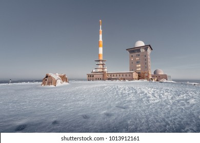 The top of the Brocken with a lot of early morning snow without people
