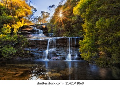 Top cascade of WEntworth falls flowing to Valley of Waters high in Blue Mounains national park in the morning against rising sun through lush leaves of gum trees.