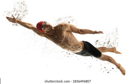 To top. Caucasian professional sportsman, swimmer training isolated on white studio background. Muscular, sportive man practicing in water sport. Concept of action, motion, youth, healthy lifestyle. - Shutterstock ID 1836496807