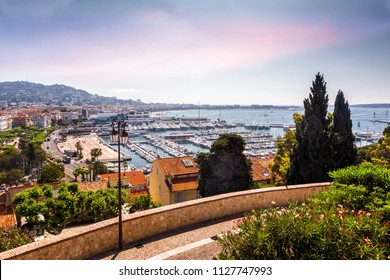 Top cityscape view on french riviera with yachts in Cannes city
