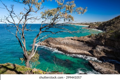 Top Cliff View of a Beautiful Ocean Coastline Overlooking the Sunshine Beach, Noosa National Park, Noosa Heads, Australia