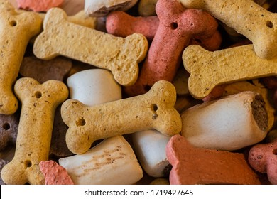 Top Close Up View of Colorful Mix Dog Dry Biscuits Food Concept