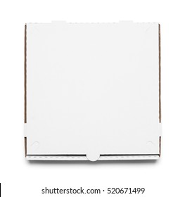Top of Closed Pizza Box Isolated on White Background.
