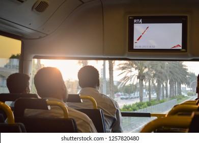Top deck of Dubai RTA bus interior