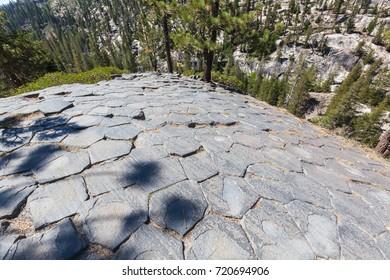 Top of Devil's Postpile showing hexagon shaped columnar basalt.