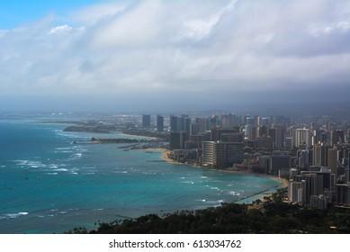 Top of Diamond Head Crater looking towards Waikiki
