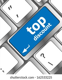top discount concept sign on computer keyboard key, raster