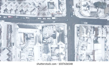 Top down aerial drone image of South London, England during a rare snow storm, March 2018