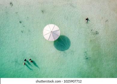 Top down aerial image of people floating in the salty water of the Dead Sea, Israel.