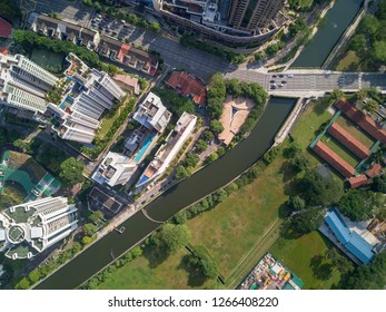 Top down aerial view of central part of Singapore along Singapore river.